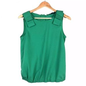 Zara Basics Top SzM Bows Zipper Sleeevless green